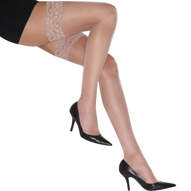 Natural - Front - Couture Womens-Ladies Ultra Gloss Lace Top Hold Ups (1 Pair)