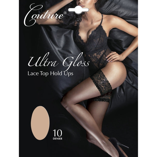 Nude - Front - Couture Womens-Ladies Ultra Gloss Lace Top Hold Ups (1 Pair)