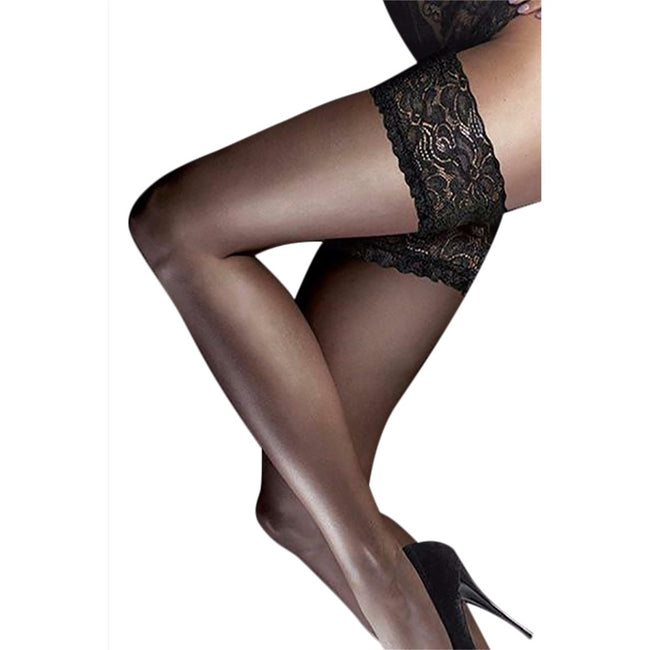 Barely Black - Front - Couture Womens-Ladies Ultra Gloss Lace Top Hold Ups (1 Pair)