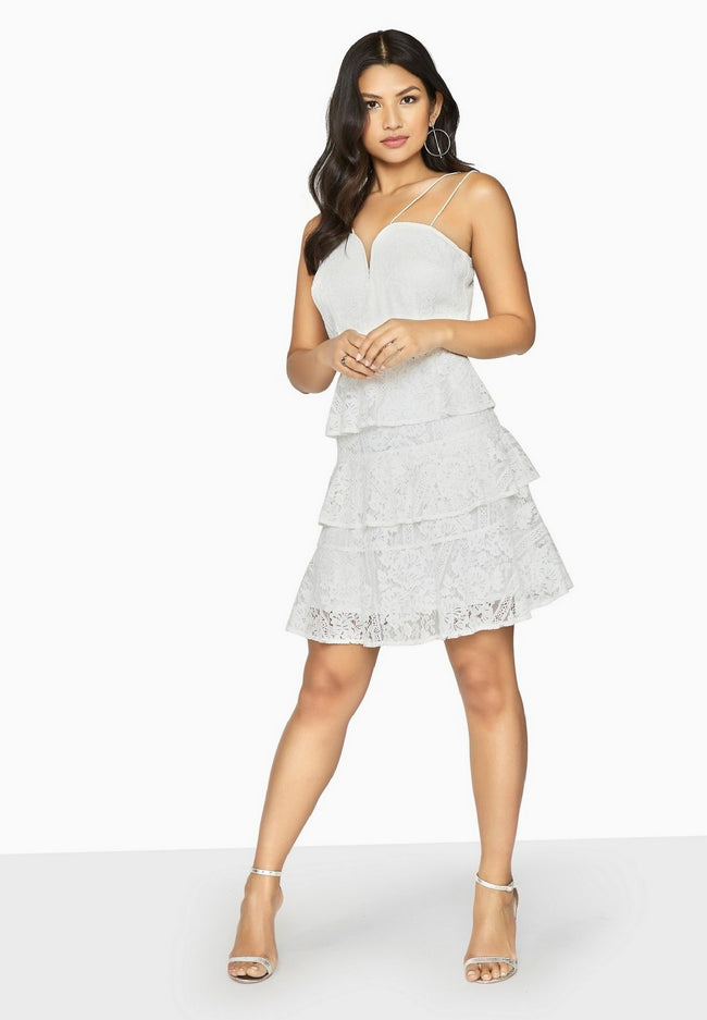 White - Pack Shot - Girls On Film Womens-Ladies Starry Eyed Tiered Lace Dress