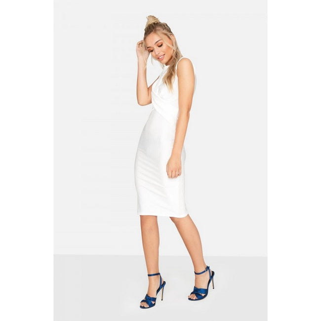 White - Side - Girls On Film Womens-Ladies Ester Crossover Ribbed Waist Dress