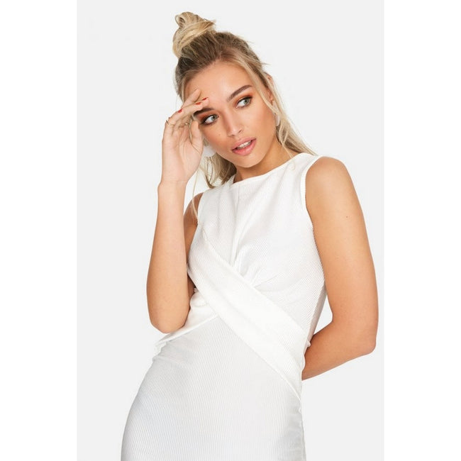 White - Lifestyle - Girls On Film Womens-Ladies Ester Crossover Ribbed Waist Dress