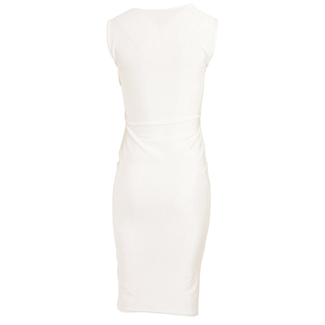 White - Close up - Girls On Film Womens-Ladies Ester Crossover Ribbed Waist Dress