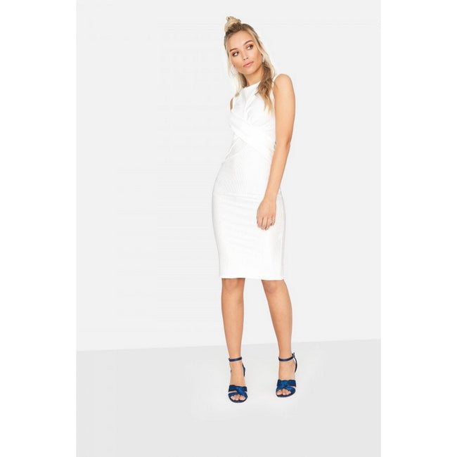White - Front - Girls On Film Womens-Ladies Ester Crossover Ribbed Waist Dress