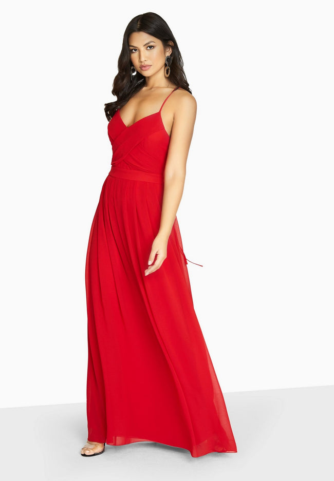 Red - Back - Girls On Film Womens-Ladies Endlessly Chiffon Maxi Dress