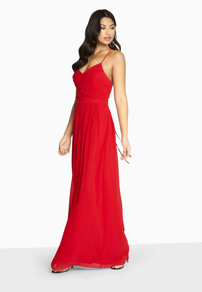 Red - Pack Shot - Girls On Film Womens-Ladies Endlessly Chiffon Maxi Dress