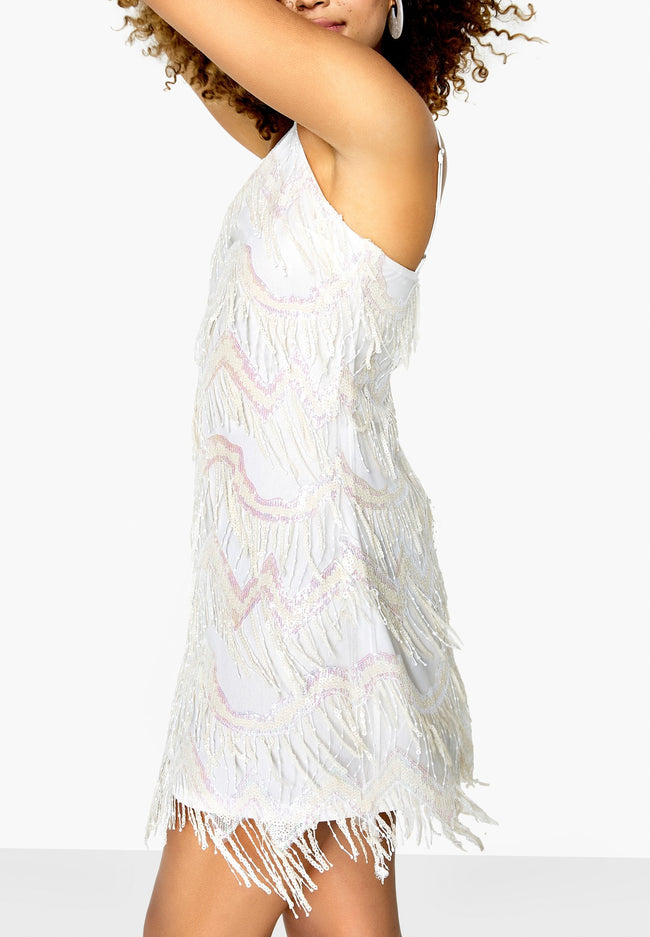 White - Side - Girls On Film Womens-Ladies Cheers Chevron Fringe Dress