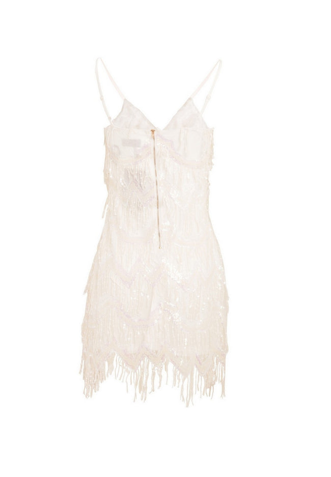 White - Close up - Girls On Film Womens-Ladies Cheers Chevron Fringe Dress