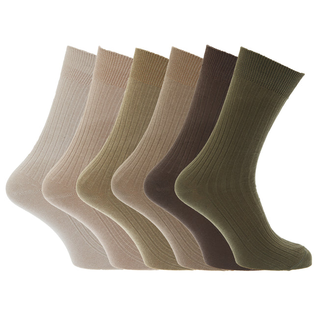 Black-Grey-Navy - Front - Mens 100% Cotton Ribbed Classic Socks (Pack Of 6)
