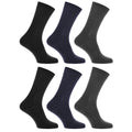 Black-Navy-Grey - Front - Mens 100% Cotton Plain Work-Casual Socks (Pack Of 6)