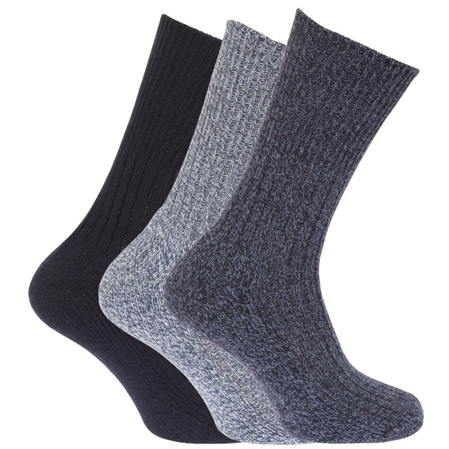 Shades of Blue - Front - Mens Wool Blend Non Elastic Top Light Hold Socks (Pack Of 3)