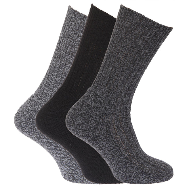 Black-Grey - Front - Mens Wool Blend Non Elastic Top Light Hold Socks (Pack Of 3)