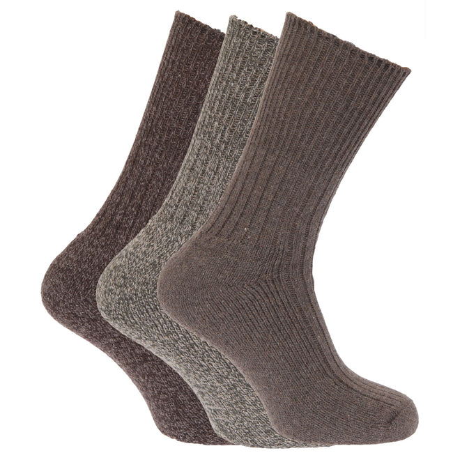 Shades of Brown - Front - Mens Wool Blend Non Elastic Top Light Hold Socks (Pack Of 3)