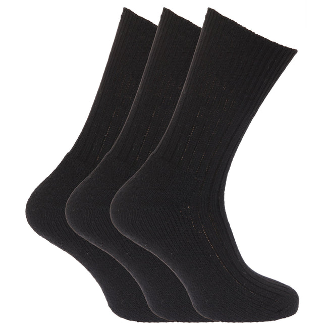 Black - Front - Mens Wool Blend Non Elastic Top Light Hold Socks (Pack Of 3)