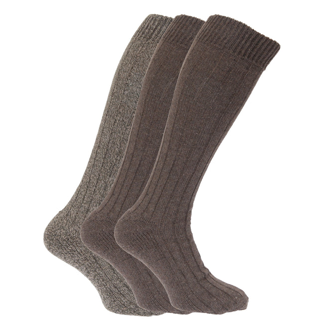 Black-Grey - Front - Mens Wool Blend Long Length Socks With Padded Sole (Pack Of 3)