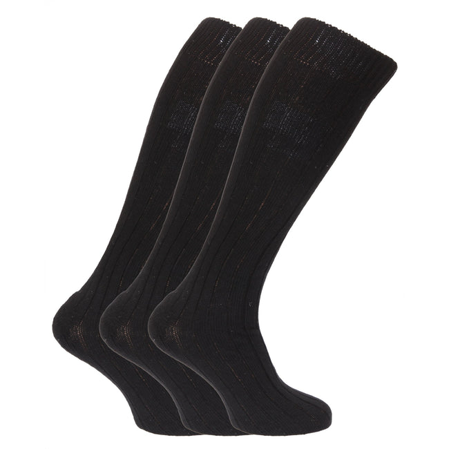 Black - Front - Mens Wool Blend Long Length Socks With Padded Sole (Pack Of 3)