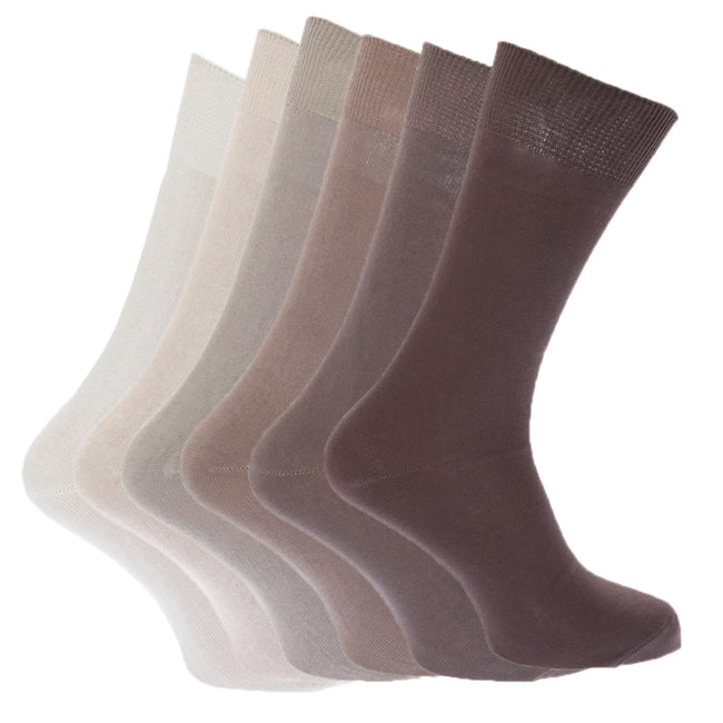 Shades of Brown - Front - FLOSO Mens Plain 100% Cotton Socks (Pack Of 6)