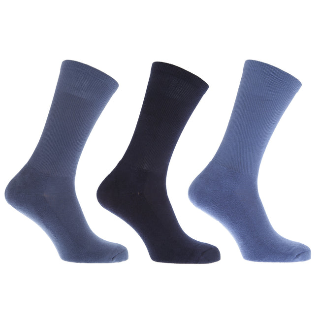 Shades of Blue - Front - FLOSO Mens Premium Quality Cotton Rich Cushion Sole Socks (Pack Of 3)