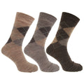 Shades of Brown - Front - Mens Traditional Argyle Pattern Lambs Wool Blend Socks With Lycra (Pack Of 3)