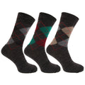 Shades of Grey - Front - Mens Traditional Argyle Pattern Lambs Wool Blend Socks With Lycra (Pack Of 3)