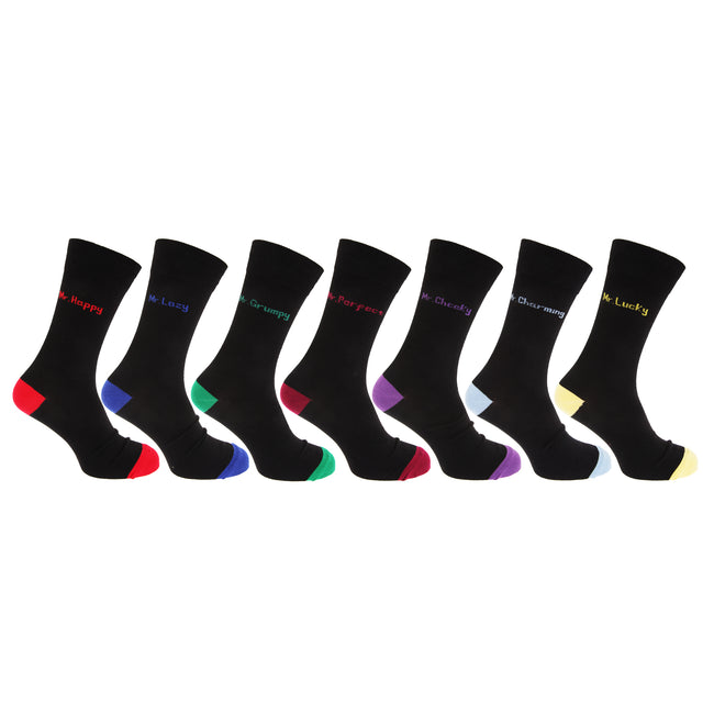 Black - Front - Mens Cotton Rich Mood Casual Socks (Pack Of 7)