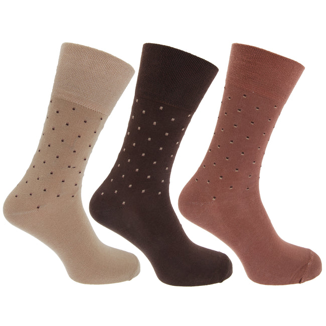 Brown - Front - Pierre Roche Mens Comfort Fit Non Elastic Top Diabetic Socks (Pack Of 3)