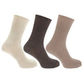 Cream-Brown-Beige - Front - Mens Casual Non Elastic Bamboo Viscose Socks (Pack Of 3)
