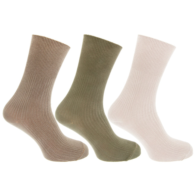 Green-Beige-Cream - Front - Mens Casual Non Elastic Bamboo Viscose Socks (Pack Of 3)