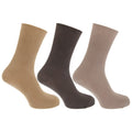 Cream-Beige-Brown - Front - Mens Casual Non Elastic Bamboo Viscose Socks (Pack Of 3)