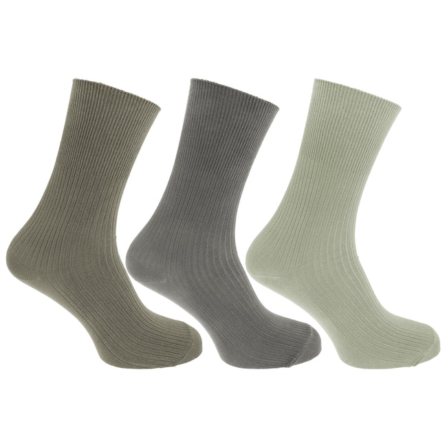 Green-Grey - Front - Mens Casual Non Elastic Bamboo Viscose Socks (Pack Of 3)