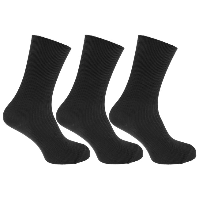 Black - Front - Mens Casual Non Elastic Bamboo Viscose Socks (Pack Of 3)
