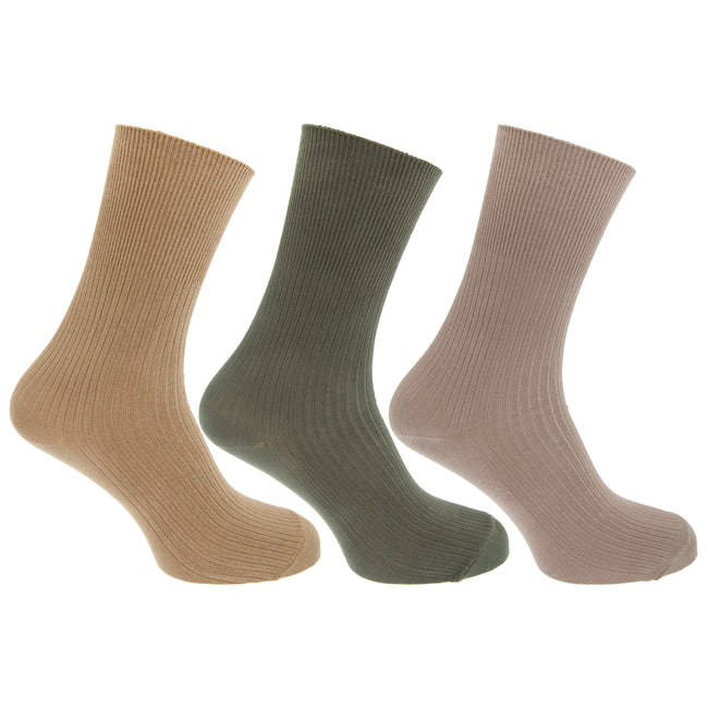 Beige-Green - Front - Mens Casual Non Elastic Bamboo Viscose Socks (Pack Of 3)
