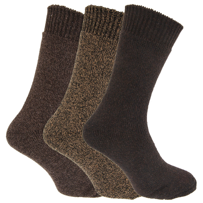 Shades Of Brown - Front - Mens Wool Blend Fully Cushioned Thermal Boot Socks (Pack Of 3)