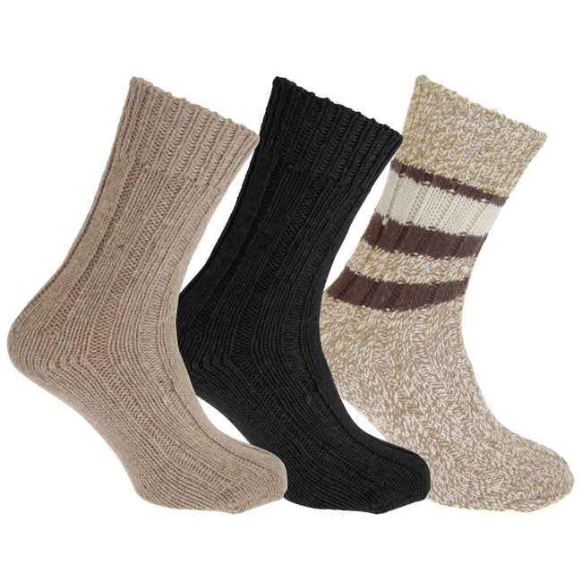 Assorted - Back - Floso Unisex Adults Wool Rich Socks (3 Pairs)