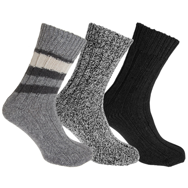 Assorted - Lifestyle - Floso Unisex Adults Wool Rich Socks (3 Pairs)