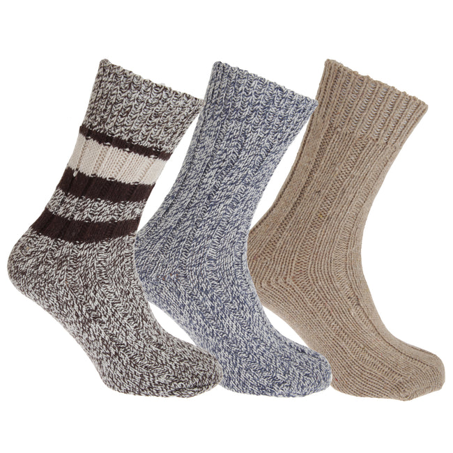 Assorted - Front - Floso Unisex Adults Wool Rich Socks (3 Pairs)