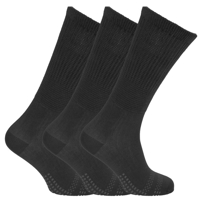 Black - Front - Womens-Ladies Bamboo Non-Binding Extra Wide Diabetic Socks (3 Pairs)
