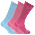 Light Blue-Pink-Fuchsia - Front - Womens-Ladies Bamboo Non-Binding Extra Wide Diabetic Socks (3 Pairs)