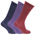 Purple-Navy-Burgundy - Front - Womens-Ladies Bamboo Non-Binding Extra Wide Diabetic Socks (3 Pairs)