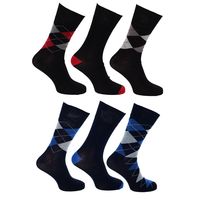 Multi-Red-Blue - Front - Pierre Roche Mens Premium Collection Pure Natural Argyle Bamboo Calf Socks (6 Pairs)