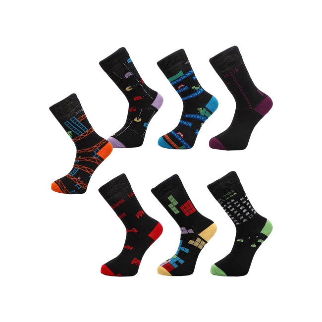 Multicoloured - Front - Floso Mens Arcade Socks (7 Pairs)