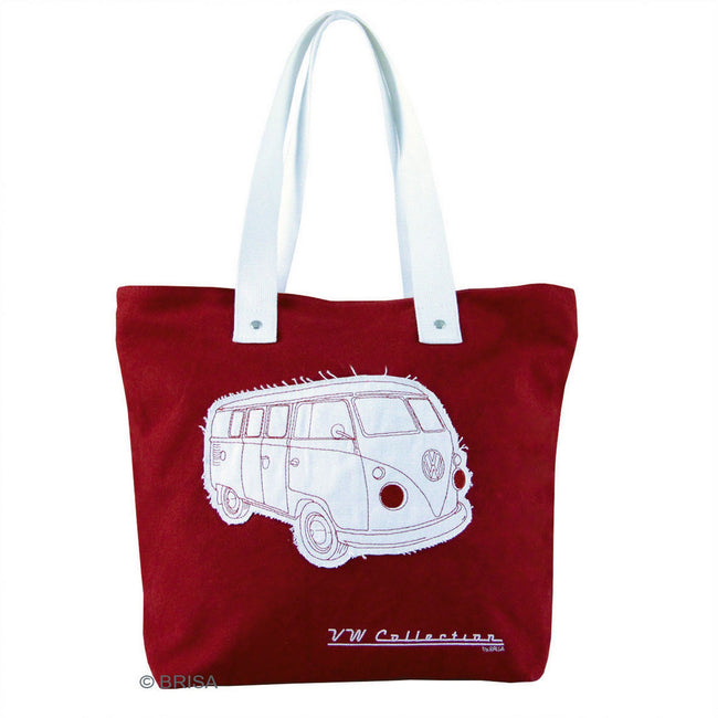 Red - Front - VW Collection Campervan Canvas Shopping Tote Bag