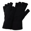 Black - Front - FLOSO Mens Fingerless Winter Gloves