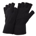 Dark Grey - Front - FLOSO Mens Fingerless Winter Gloves