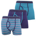 Teal - Front - FLOSO Mens Cotton Mix Key Hole Trunks Underwear (Pack Of 3)