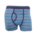 Teal - Back - FLOSO Mens Cotton Mix Key Hole Trunks Underwear (Pack Of 3)