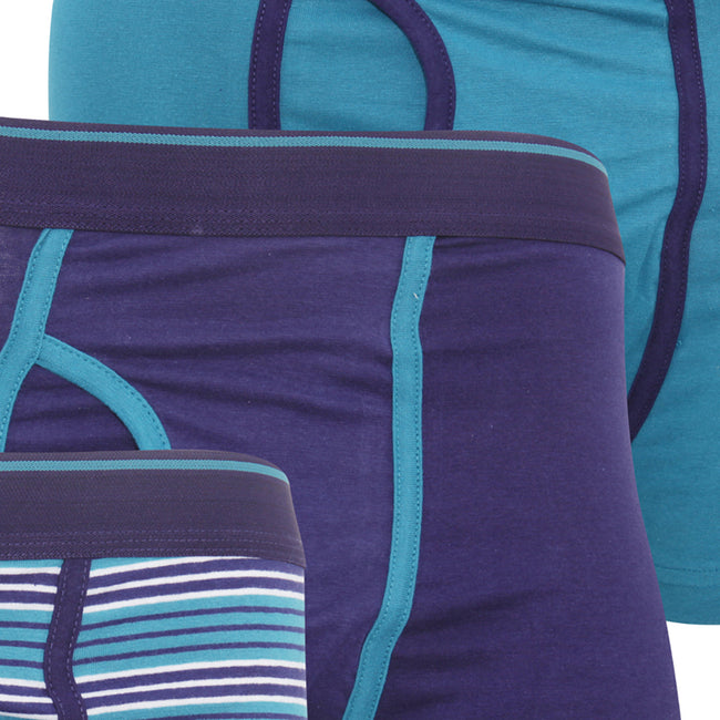 Teal - Side - FLOSO Mens Cotton Mix Key Hole Trunks Underwear (Pack Of 3)