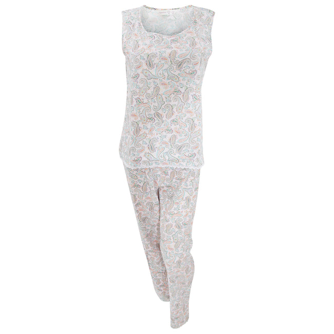 Pink - Front - Womens-Ladies Paisley Pattern Cotton Nightwear Sleeveless Top And Trousers Pyjamas