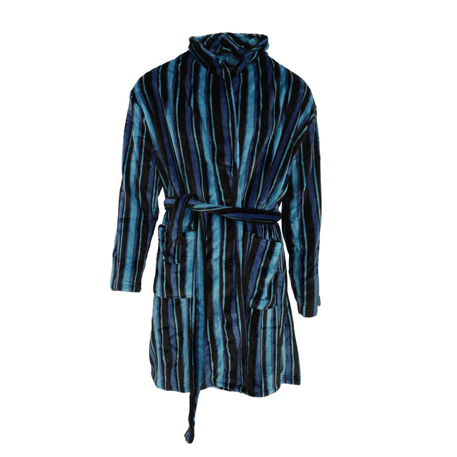 Teal-Blue-Black - Front - Pierre Roche Mens Super Soft Stripe Design Dressing Gown-Robe