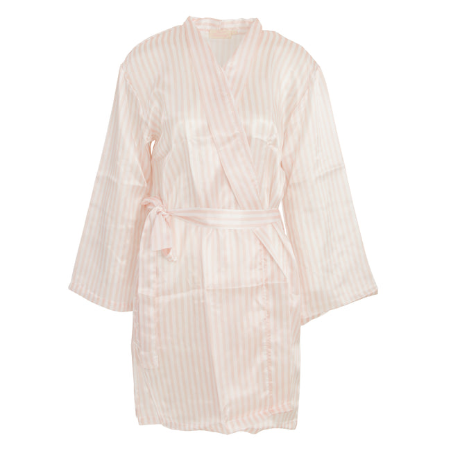 Pink-White - Front - Forever Dreaming Womens-Ladies Striped Design Kimono Robe